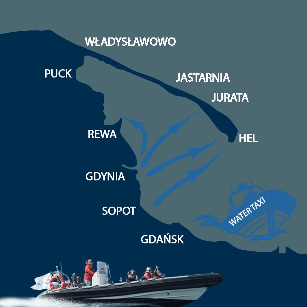 Water taxi Sopot, Gdynia, Gdańsk, Hel